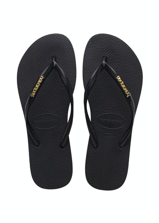 Havaianas Slim Logo Metallic black/Gold Damesschoenen Slippers
