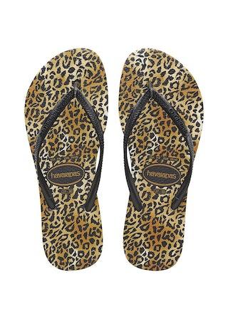 Havaianas Slim Leopard black/black Damesschoenen Slippers