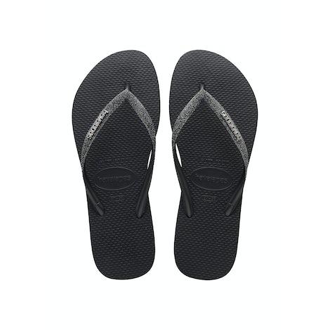 Havaianas Slim Glitter II Black/Dark grey Slippers Slippers