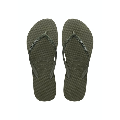 Havaianas Slim Glitter II Green Olive Slippers Slippers