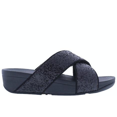 Fit Flop Lulu glitter slides X02 339 black glitte Slippers Slippers