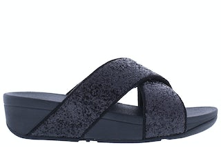 Fit Flop Lulu glitter slides X02 339 black glitte Damesschoenen Slippers