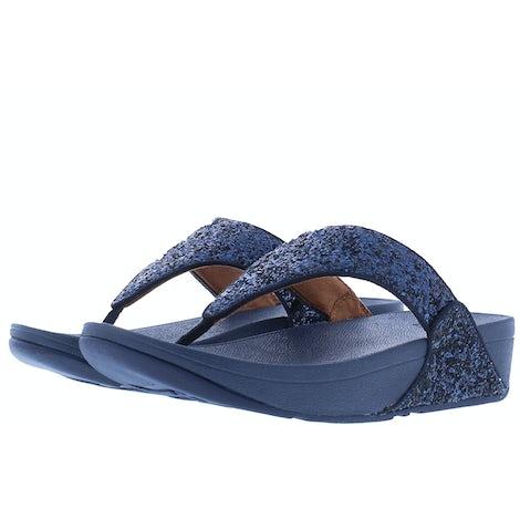 Fit Flop Lulu glitter toe thongs X03 399 midnight nav Slippers Slippers