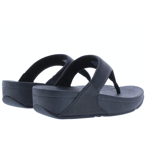 Fit Flop Lulu shimmer toe post U04 001 black Slippers Slippers
