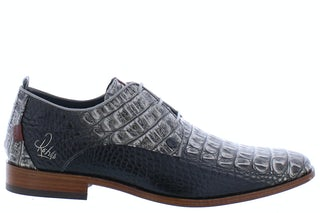 Rehab Greg croco vernis dark grey Herenschoenen Veterschoenen