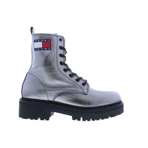 Tommy Hilfiger Metallic lace up boot 0IN gun metal Booties Booties