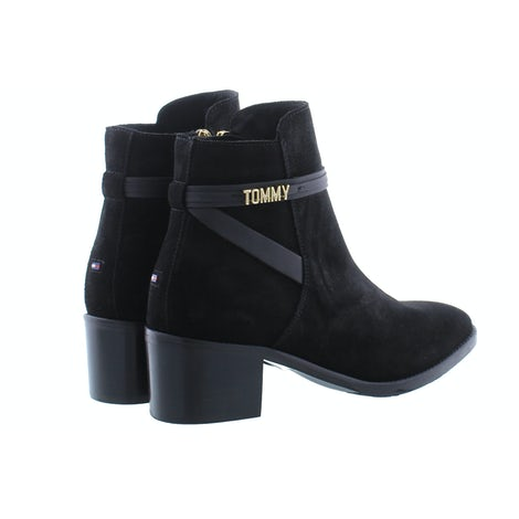 Tommy Hilfiger Block branding suede mid boot BDS black Damesschoenen Enkellaarsjes