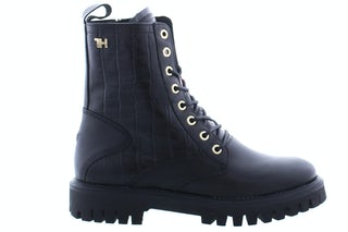Tommy Hilfiger Croco look flat boot BDS black Damesschoenen Booties