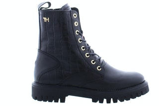 Tommy Hill Croco look flat boot BDS black 170100594 01