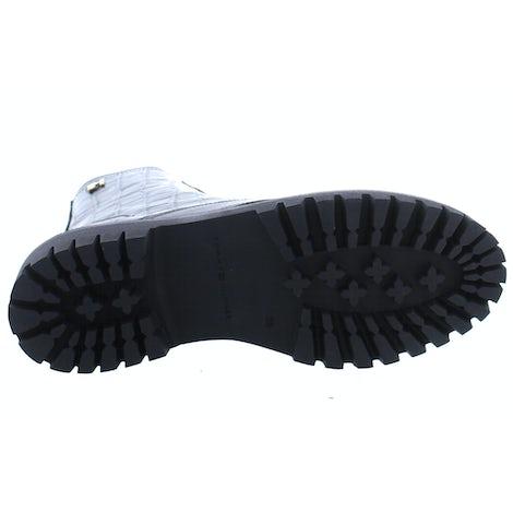 Tommy Hilfiger Croco look flat boot BDS black Damesschoenen Booties