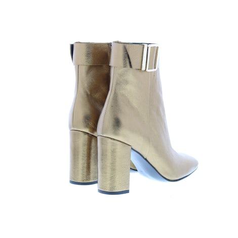 Tommy Hilfiger Metallic square toe boot 0LJ dark gold Damesschoenen Enkellaarsjes