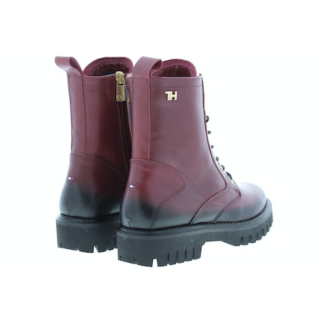 Tommy Hilfiger Shaded leather TH bootie VLP deep rouge Damesschoenen Booties