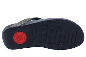 Fit Flop Lottie glitter stripe 090 all black Damesschoenen Slippers