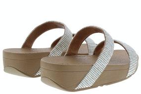 Fit Flop Lottie glitter stripe slide 031 stone Damesschoenen Slippers
